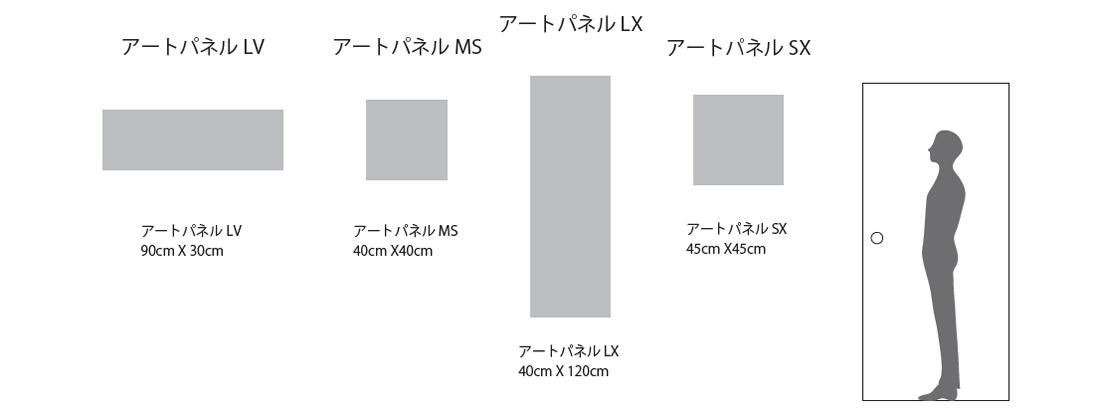 アートパネル寸法比較図 アートパネル LVタイプ MSタイプ SX・LXタイプ