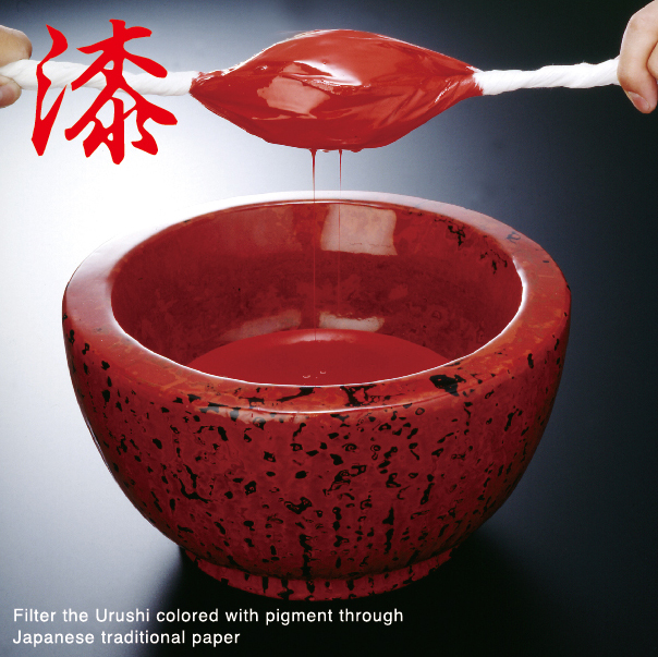Filter the Urushi colored with pigment through Japanese traditional paper
