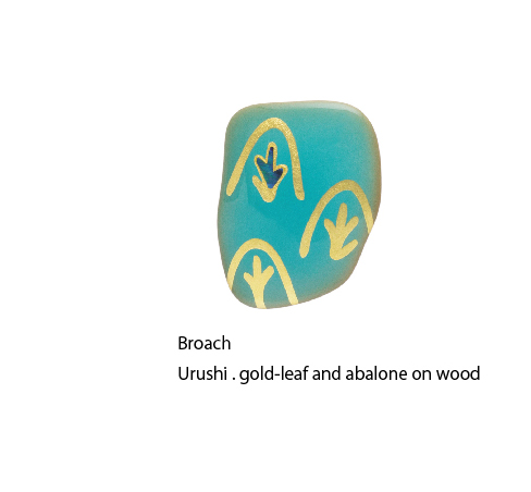 Broach Urushi . gold-leaf and abalone on wood