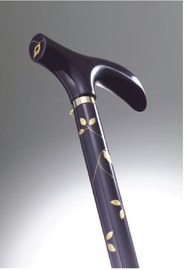 おしゃれなステッキ(URUSHI Stylish stick)けし紫蔦唐草