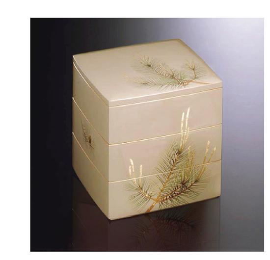 重箱(JU-BAKO URUSHI Lacquerware) Y-441 山鳩 65 月同張三段 若松