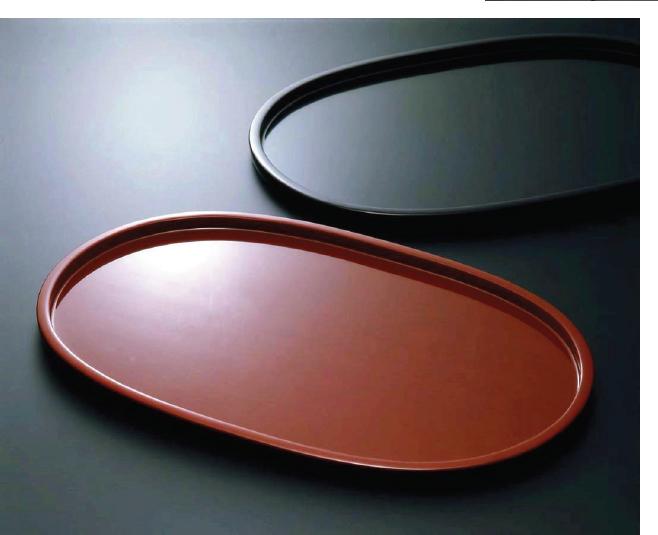 素黒目の器(SUGOROME URUSHI Lacquerware) 本朱 二尺オ一バルトレイ 黒 二尺オ一バルトレイ