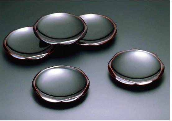 木地呂(KIJIRO URUSHI Lacquerware) Y-522 溜 45 ダイヤ型銘々皿